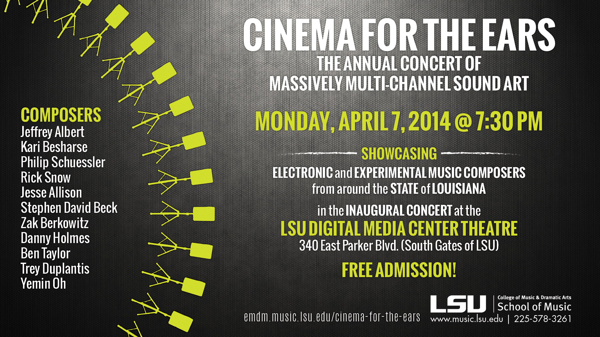 Annual ambisonic 72-channel concert is April 7 in new LDMC Theater